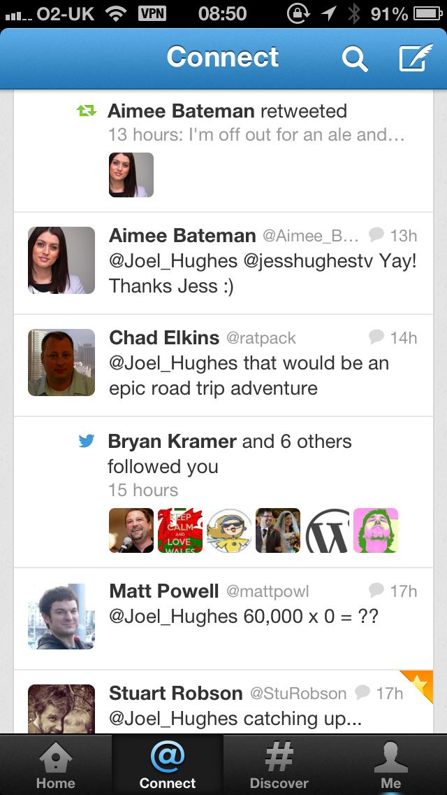 Screenshot of official Twitter app; see retweet at top
