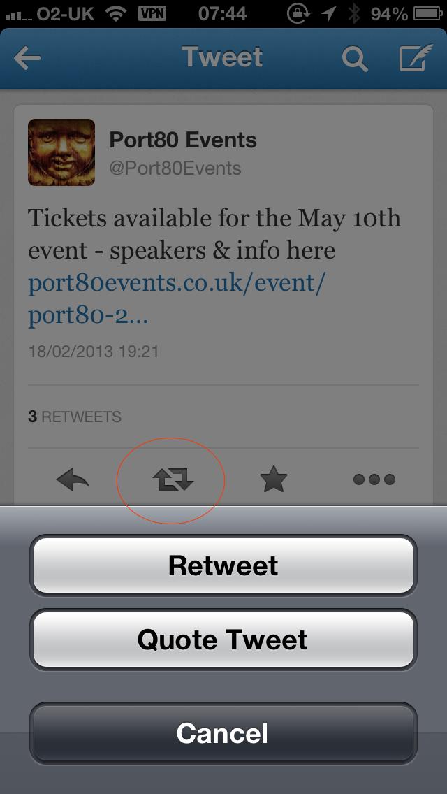 Official Twitter IOS app ('retweet' circled)