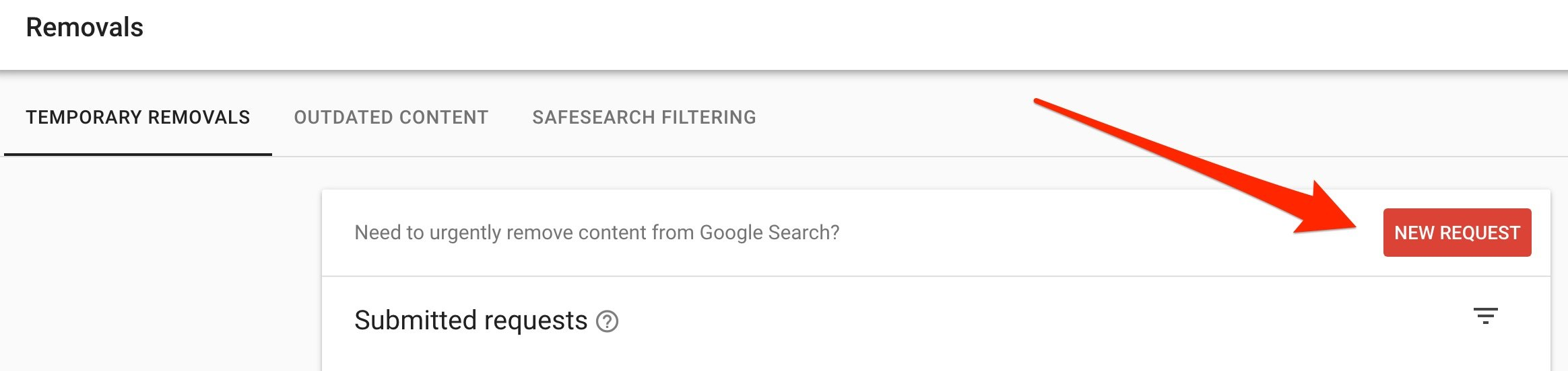 The NEW REMOVAL button in Google Search Console