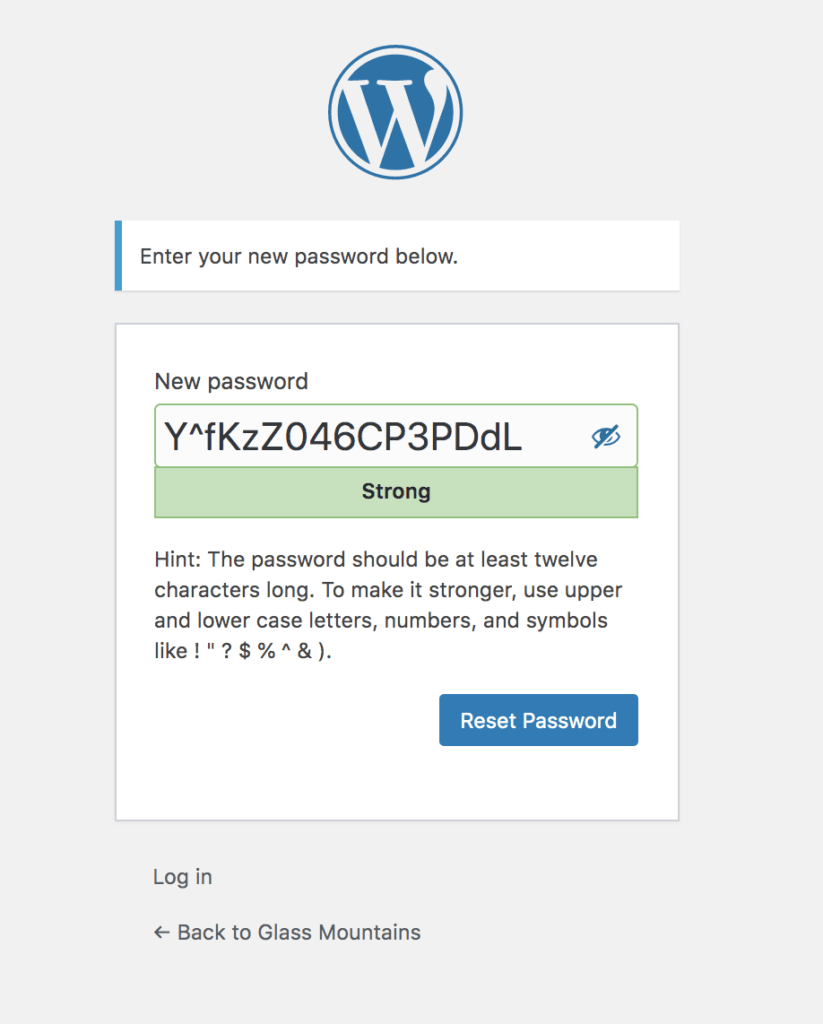 Example of WordPress screen which a user sees when they are trying to reset their password