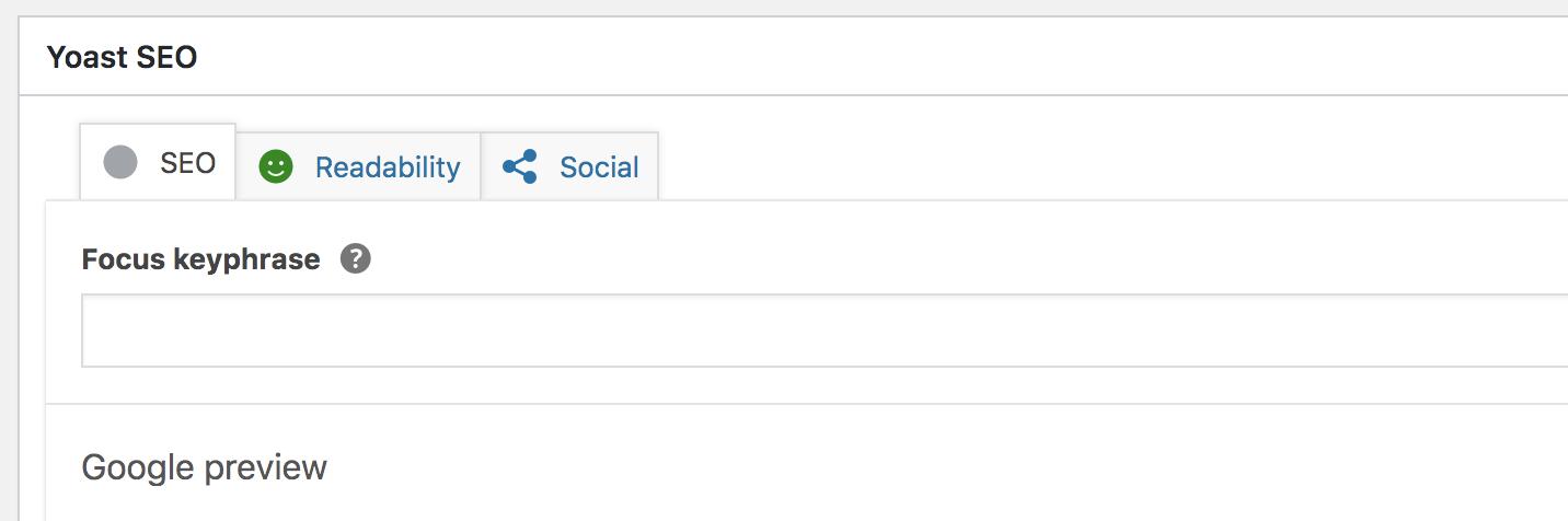 The Yoast SEO Plugin panel in your WordPress page