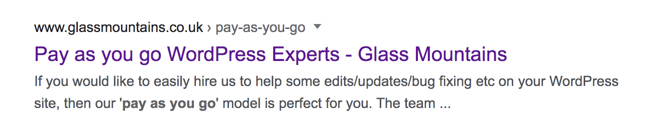 Screenshot showing SERPS listing of our WordPress pay-as-you-go service