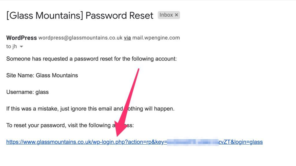 Example of email a user receives when they try to reset their password in WordPress. Note they still need to click the link to set their new password - the email does not contain the new password