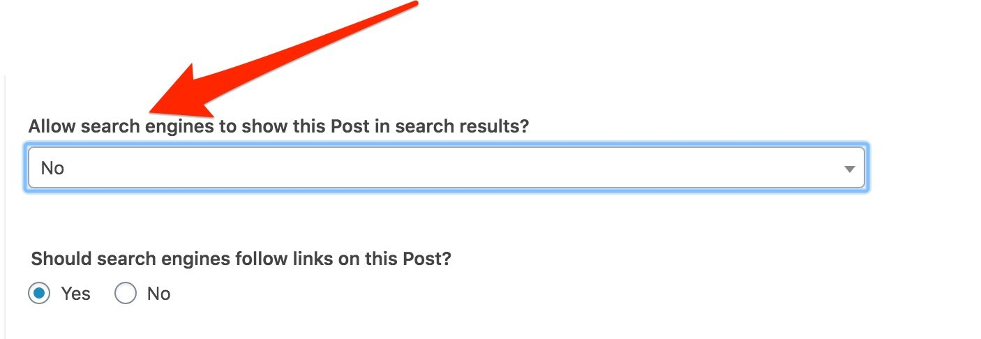 Change 'allow search engines to show this Post in search results' to NO (Yoast SEO plugin in WordPress)
