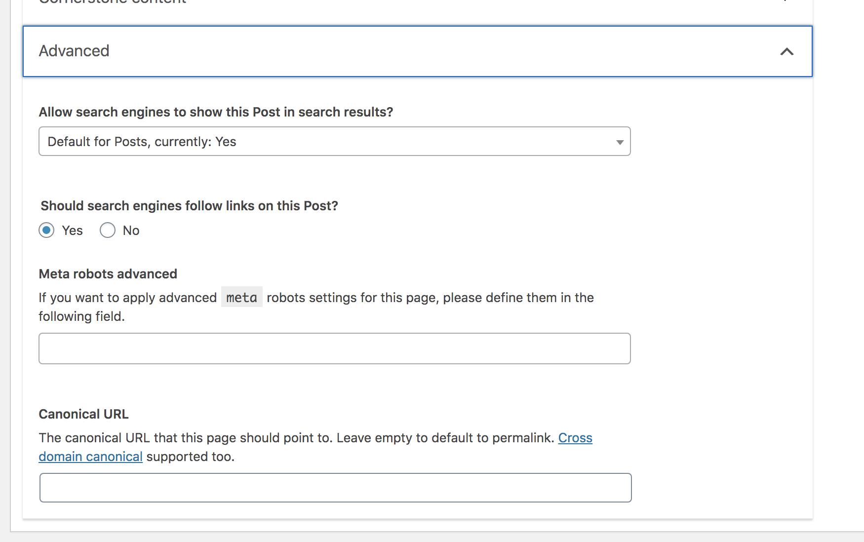 Revealing the fields in the Advanced option on the Yoast SEO WordPress plugin