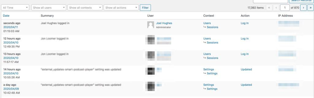 Example of what the Stream plugin can audit & log in a WordPress site
