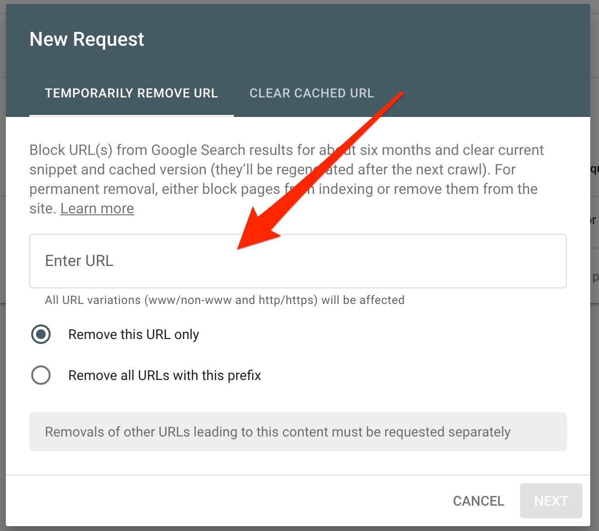 The 'New Request' panel re removals in Google Search Console