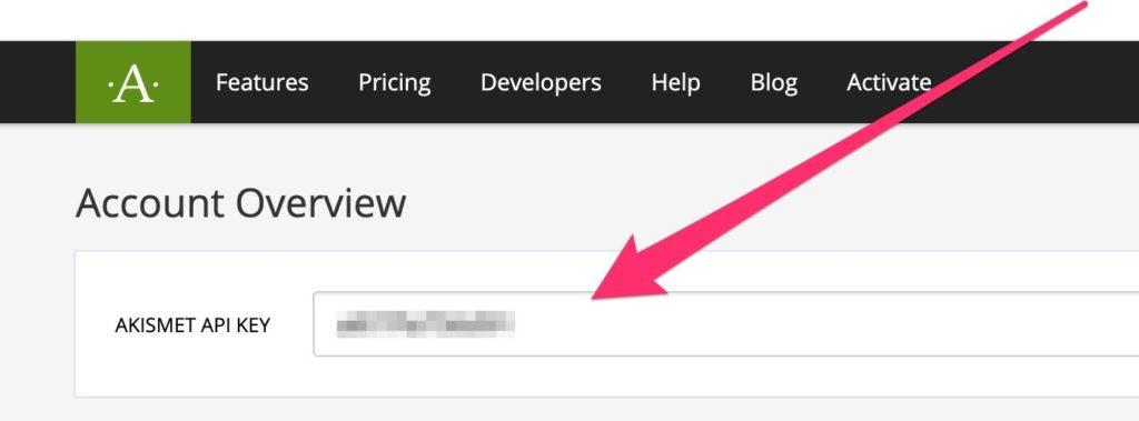 Fig 2 - getting your Akismet API key