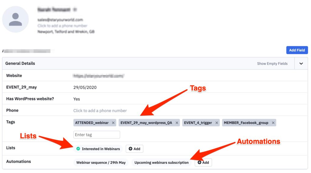 Example of a contact in ActiveCampaign: Tags, Lists, and Automations