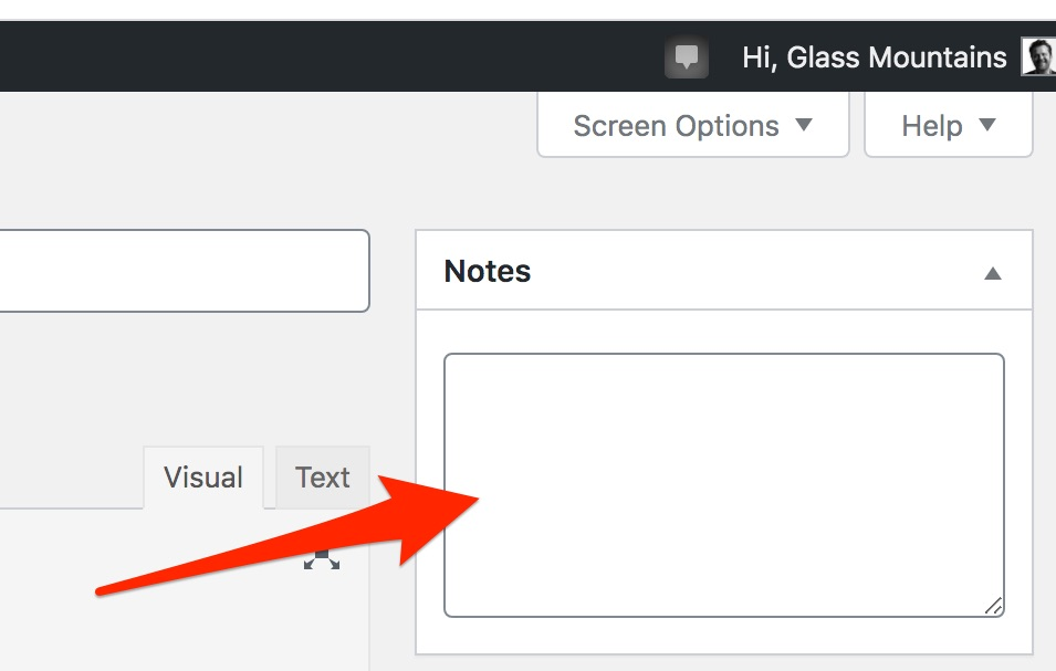 How Notely plugin notes panel appears in WordPress backend