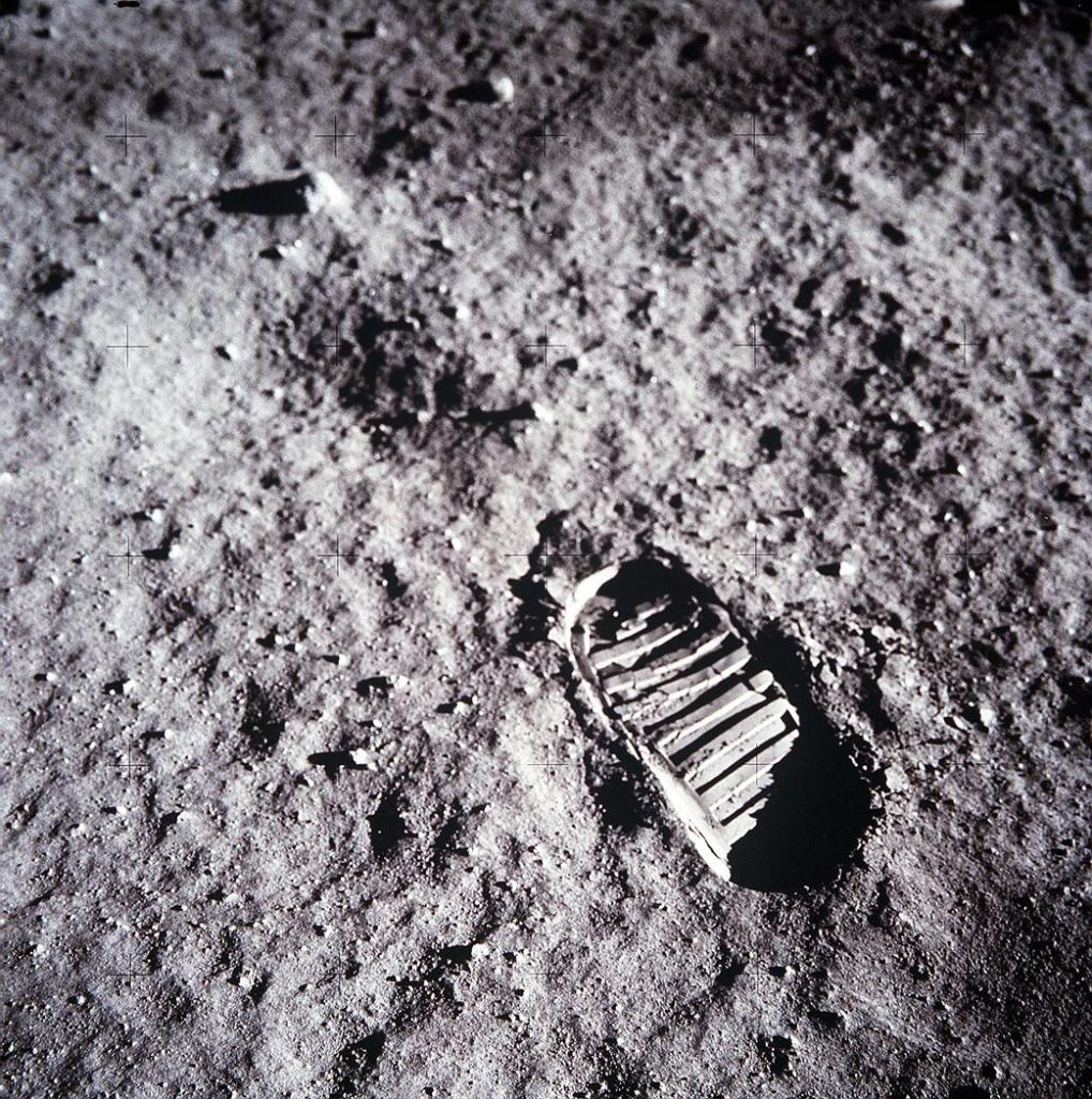 Iconic photo of Buzz Aldrin's footprint on the Moon