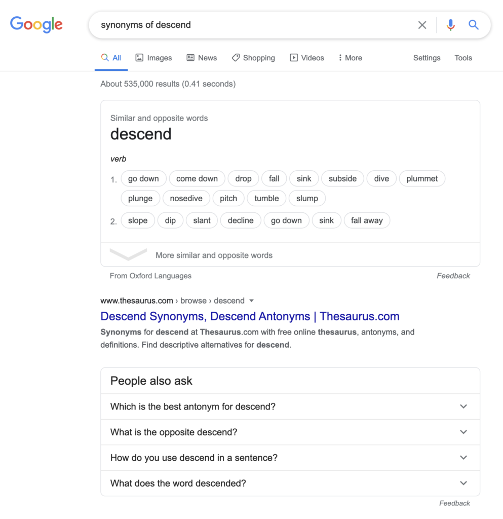 Fig 3 -Google search on 'synonyms of Descend'