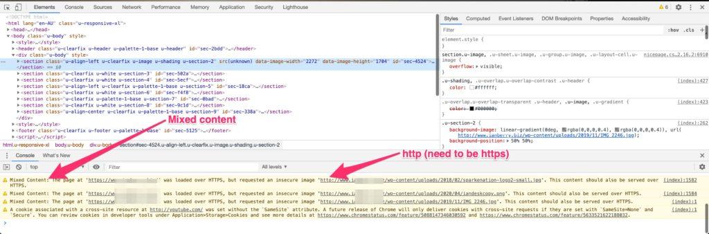 Fig 5 - Inspect window open in Google Chrome