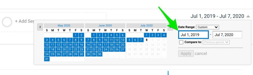 Fig 2 - Google Analytics date range