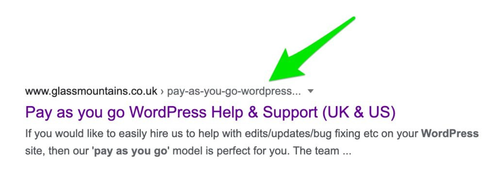 Example SERPS listing