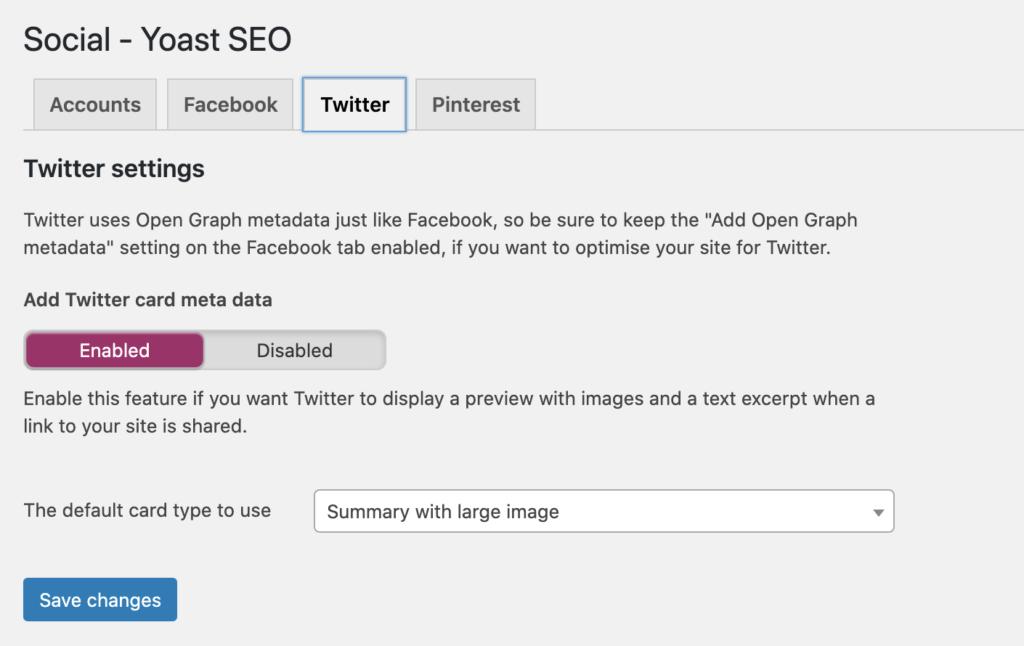 Example of Yoast plugin setting re social