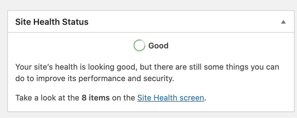 Fig 1 - Site Health on dashboard