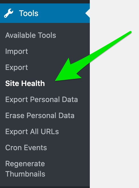 Fig 2- accessing Site Health in tools