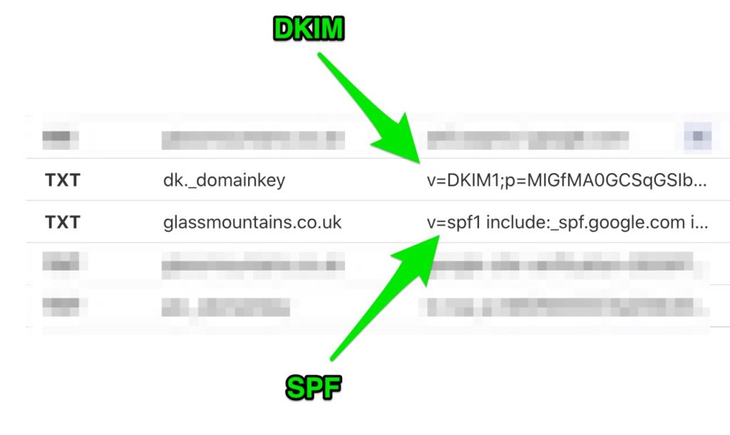 Fig 2- DNS SPF/DKIM records